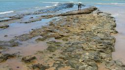 Gambar yang dirilis 7 Oktober 2019 memperlihatkan minyak tumpah di pantai Pontal de Coruripe di Coruripe, negara bagian Alagoas, Brasil. Presiden Jair Bolsonaro menyebut tumpahan minyak yang mencemari pantai di kawasan timur laut Brasil itu emungkinan berasal dibuang secara kriminal. (HO/IBAMA/AFP)