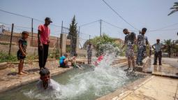 Warga Palestina menikmati waktu di sebuah mata air alami di tengah gelombang panas di Kota Jericho, Tepi Barat, (18/5/2020). (Xinhua/Luay Sababa)