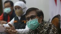 Konferensi pers perkembangan kasus virus corona baru yang memicu COVID-19 di Gedung Grahadi, Jumat (8/5/2020) (Foto: Liputan6.com/Dian Kurniawan)