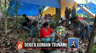 Sebagian korban tsunami Selat Sunda masih bertahan di pegunungan yang berada di Lampung Selatan. Selain harus menahan suhu dingin, para korban juga mulai terserang penyakit.