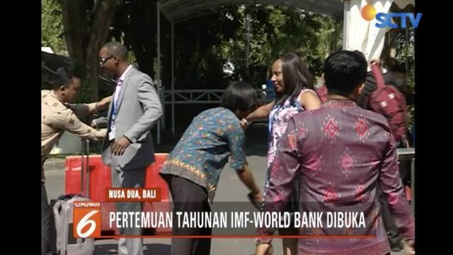 Acara Annual Meeting IMF-World Bank Group pada Senin (8/10) resmi dimulai di Nusa Dua, Bali.