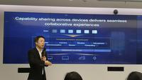 Huawei memberikan informasi tentang OS Harmony. (Liputan6.com/ Agustinus Mario Damar)