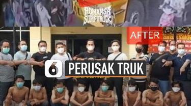 Aksi tidak terpuji ditunjukkan oleh rombongan orang tak dikenal terhadap truk kontainer yang sedang melintas.