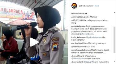 Tangkapan layar Polwan cantik pelantun salawat yang dipopulerkan oleh Sabyan di akun Instagram Polres Kebumen. (Foto: Liputan6.com/Muhamad Ridlo).