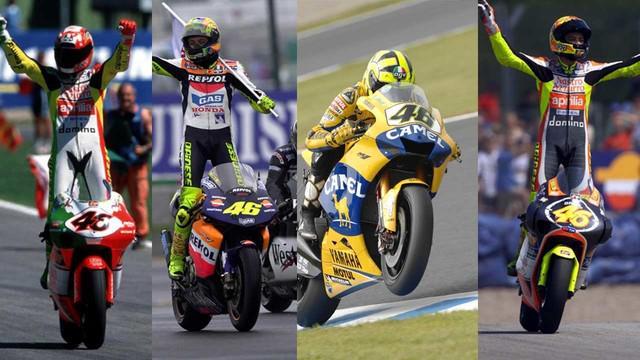 Video perubahan motor-motor Valentino Rossi dari tahun 1996 sampai 2015, yang salah satunya pada tahun 2015 Rossi menggunakan motor Movistar Yamaha MotoGP.