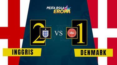 Berita video motion grafis, pertandingan semifinal Euro 2020 antara Inggris melawan Denmark Kamis (8/7/2021).
