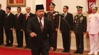 Djoko Setiadi saat dilantik Jokowi sebagai Kepala Badan Siber dan Sandi Nasional di Istana Merdeka, Jakarta, Rabu (3/1). (Liputan6.com/Pool/Kurniawan)