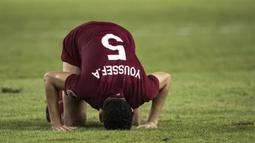 Bek Qatar, Yousef Aymen, merayakan kemenangan atas Thailand pada laga Piala AFC U-19 di SUGBK, Jakarta, Minggu (28/10). Qatar menang 7-3 atas Thailand. (Bola.com/Vitalis Yogi Trisna)