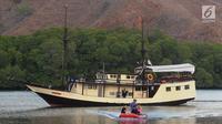Wisatawan menaiki perahu karet saat mengarungi sebuah teluk di Pulau Rinca, Taman Nasional Komodo, NTT, Minggu (14/10). Pulau Rinca dapat dicapai dengan perahu kecil dari Labuan Bajo di Flores barat. (Merdeka.com/Arie basuki)