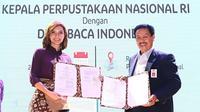 Najwa Shihab saat penandatanganan Nota Kesepemahanan dengan Kepala Perpustakaan Nasional RI, Muhammad Syarif Bando di Jakarta, Kamis, 23 Januari 2020 (Dok.Perpustakaan Nasional RI)