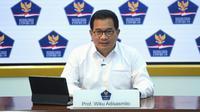 Juru Bicara Satuan Tugas Penanganan COVID-19 Wiku Adisasmito saat konferensi pers perkembangan COVID-19 di Istana Kepresidenan Jakarta, Kamis, 1 April 2021. (Biro Pers Sekretariat Presiden/Lukas)
