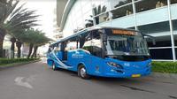 Badan Pengelola Transportasi Jabodetabek (BPTJ) dan Perum PPD, meresmikan tiga unit bus Jabodetabek Airport (JA) Connexion pada Jumat (7/12/2018). (Foto:Liputan6.com/Pramita T)