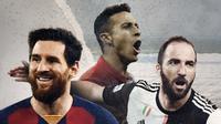 Lionel Messi, Thiago Alcantara dan Gonzalo Higuain. (Bola.com/Dody Iryawan)