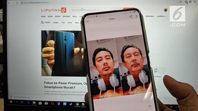 Aplikasi FaceApp. (Liputan6.com/ Yuslianson)