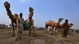 Para penjual berdiri dekat unta mereka yang dihiasi saat menunggu pembeli di pasar ternak untuk Idul Adha di Islamabad, Pakistan, Minggu (26/7/2020). Para pedagang menghias unta agar hewan kurban yang dijualnya dilirik pembeli. (AP Photo/Anjum Naveed)