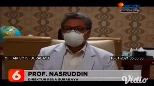 Sebanyak 80 tenaga kesehatan atau nakes dari berbagai rumah sakit di Surabaya, disuntik vaksin Covid-19 di Rumah Sakit Unair. Rencananya pada hari Senin (18/1) akan digelar vaksinasi kepada 40 nakes dengan 2 sesi, pagi dan siang.