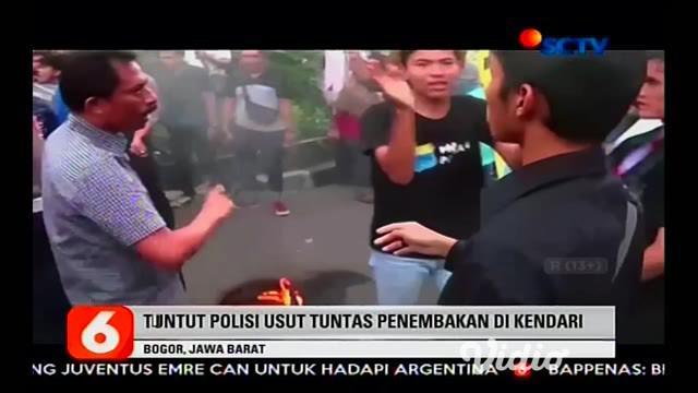 Unjuk rasa mahasiswa di depan Mapolresta Bogor berlangsung ricuh, dalam aksinya mahasiswa menuntut polisi mengusut tuntas atas penembakan yang menewaskan 2 mahasiswa di Kendari, Sulawesi Tenggara.