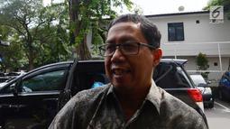 Plt Ketum PSSI Joko Driyono alias Jokdri bersiap menjalani pemeriksaan lanjutan sebagai tersangka kasus dugaan skandal pengaturan skor pertandingan bola liga 2 dan liga 3 Indonesia di Polda Metro Jaya, Jakarta, Kamis (21/2). (Merdeka.com/Imam Buhori)