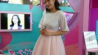 Tatjana Saphira hadir dalam peluncuran the new breathable Wardah matte lip cream. (Liputan6.com/Dinny Mutiah)