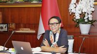 Menlu Retno Marsudi dalam Ministerial Coordination Group on COVID-19 (MCGC). (Dok: Kemlu RI)