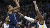 Andrew Wiggins saat Timberwolves melawan Warriors di lanjutan NBA (AP)