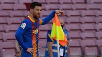 Lionel Messi. Adalah pemegang rekor peraih Sepatu Emas Eropa sebanyak 6 kali. Musim ini bersama Barcelona telah mencetak 30 gol dari 35 pertandingan di La Liga dan menjadi top skor sementara di Liga Spanyol musim ini. (AFP/Josep Lago)