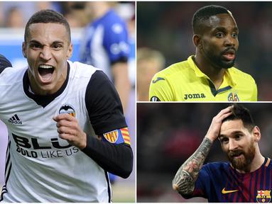 Berikut ini top scorer sementara La Liga Spanyol musim 2017/2018 hingga pekan ke-14, Lionel Messi masih di posisi teratas. (Kolase foto-foto dari AFP)