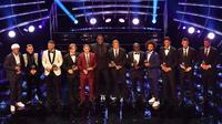 Para pemain yang terpilih masuk daftar FIFPro World XI 2018 di London, Senin (24/9/2018). (AFP/Ben Stansall)