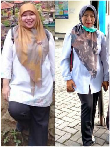 Salah seorang pasien menunjukan dampak signifikan penurunan tubuh dengan pola diet transformasi 90 hari di Garut, Jawa Barat.
