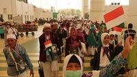 Jemaah Haji Indonesia merayakan HUT Kemerdekaan Indonesia ke-74 di Jeddah. Darmawan/MCH