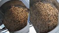 Seorang warganet menggunakan mesin cuci untuk mencuci kacang tanah. Sumber: TikTok/@FitriaInsu