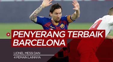 Berita motion grafis 5 penyerang terbaik Barcelona abad ini, Lionel Messi nomor satu.