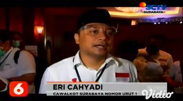 KPU Kota Surabaya menggelar debat terbuka pasangan Cawali Kota Surabaya pada Rabu malam (4/11). Debat terbuka tersebut menghadirkan dua paslon yakni Eri Cahyadi-Armudji dan Machfud Arifin-Mujiaman.