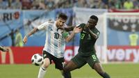 Argentina meraih kemenangan 2-1 atas Nigeria dalam matchday terakhir Grup D Piala Dunia 2018, di Stadion Krestovsky, Selasa atau Rabu (27/6/2018) dini hari WIB. (AP Photo/Dmitri Lovetsky)