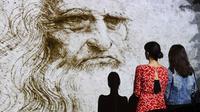 Hologram Leonardo da Vinci di Milan, Italia, September 2019. (AFP/Miguel Medina)