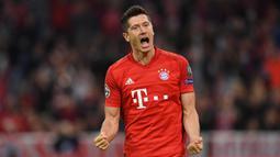 Torehan 11 gol Lewandowski juga menyamai rekor Cristiano Ronaldo sebagai pencetak gol terbanyak dalam semusim Liga Champions. (AFP/Christof Stache)
