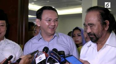 Gubernur Petahana DKI Jakarta Basuki Tjahaja Purnama atau Ahok mengunjungi Ketua Umum Partai nasdem Surya Paloh di kantornya.