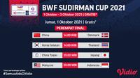 BWF Sudirman Cup 2021 Jumat, (1/10/2021)