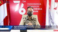 Menteri Perindustrian Agus Gumiwang Kartasasmita penandatanganan Nota kesepahaman Kementerian Perindustrian dengan Kementerian Koperasi dan UKM dan Kementerian BUMN, Jumat(3/9/2021).
