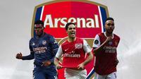 Arsenal - Thomas Partey, Mikel Arteta, Pierre Emerick Aubameyang (Bola.com/Adreanus Titus)
