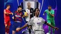 Liga Champions - Cristiano Ronaldo, Lionel Messi, Raul Gonzales, Robert Lewandowski, Karim Benzema (Bola.com/Adreanus Titus)