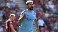 2. Sergio Aguero (Manchester City) - Sergio Aguero adalah pemain aktif dengan torehan gol tertinggi di Premier League. Torehan 170 gol menempatkan Aguero di urutan keenam dalam daftar pencetak gol terbanyak sepanjang masa Premier League. (AFP/Glyn Kirk)