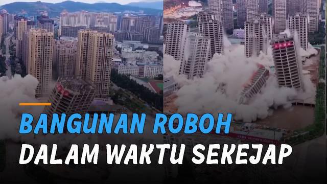 Ini dia ketika bangunan dihancurkan dengan bahan peledak.