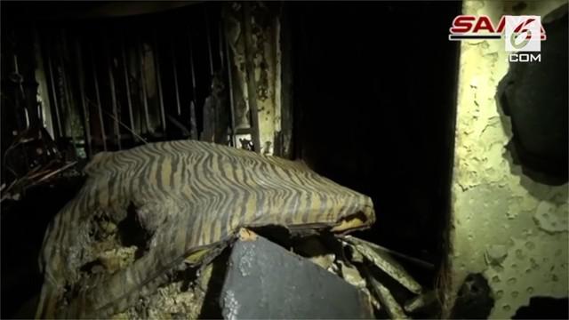 Polisi menemukan tujuh orang bersaudara tewas usai sebuah apartemen terbakar di Kota Damaskus, Suriah.