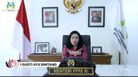 Menteri PPPA I Gusti Ayu Bintang Darmavati di Anugerah Perempuan Hebat Indonesia 2021. (Liputan6.com)