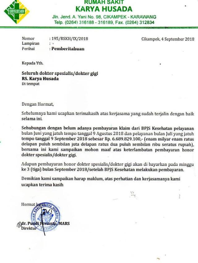 Humas Bpjs Kesehatan Soal Surat Terbuka Direktur Rs Karya