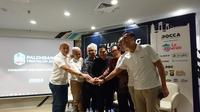 Erick Thohir dan berbagai pihak lainnya meresmikan momen dibukanya Palembang Triathlon 2019 (Istimewa).