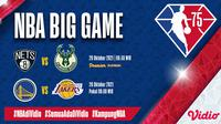 Jadwal dan Live Streaming Pertandingan NBA Big Game 2021/2022 di Vidio. (Sumber : dok. vidio.com