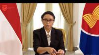 Menlu Retno ketika menyampaikan hasil KTT ASEAN ke-36 yang diikuti oleh Presiden Joko Widodo pada Jumat 26 Juni 2020. (Youtube: Kemlu RI)
