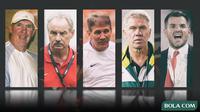 Mantan Pelatih Timnas Indonesia: Peter Withe, Alfred Riedl,Luis Manuel Blanco, Wim Rijsbergen, Simon McMenemy (Bola.com/Adreanus Titus)